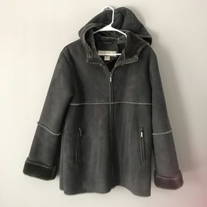 1 Madison grey  faux suede fur hooded coat small